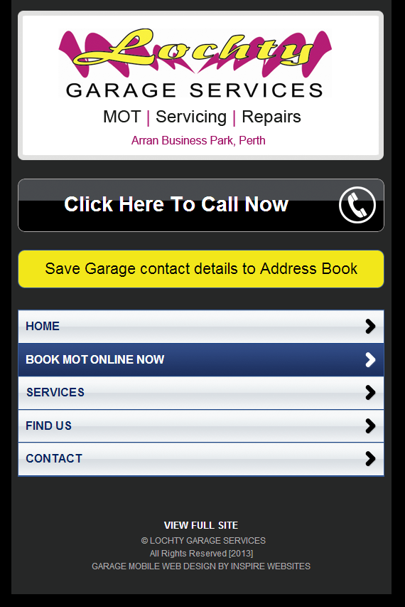 Mobile Website Lochty Garage Services