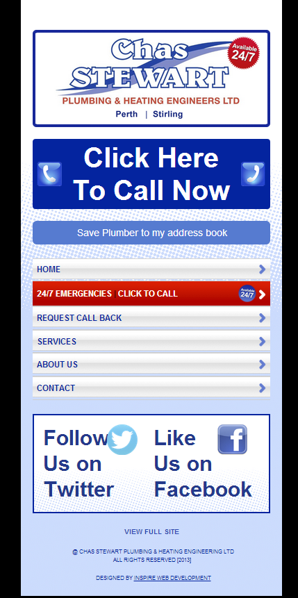 Mobile Website for Plumbing & Heating Business