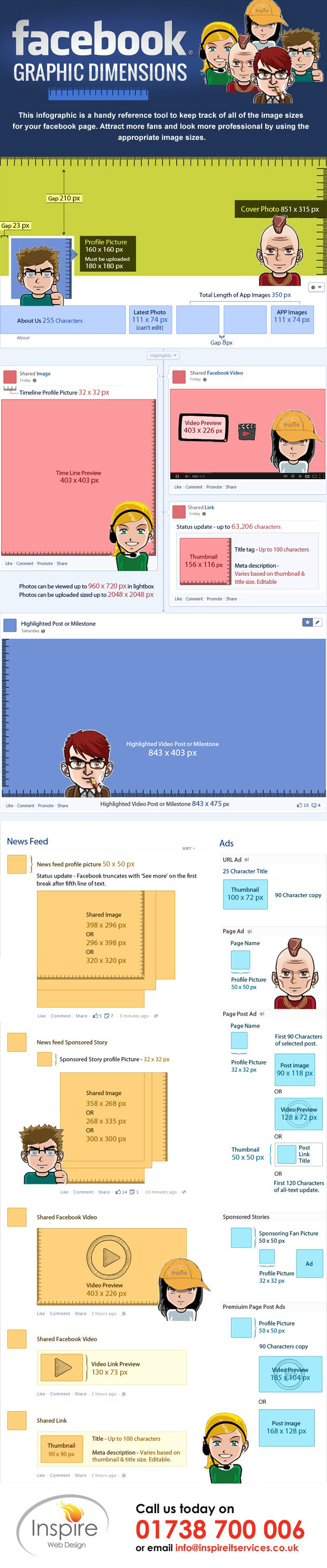 This Info graphic is a handy reference tool to keep track of all the image sizes for your Facebook page.